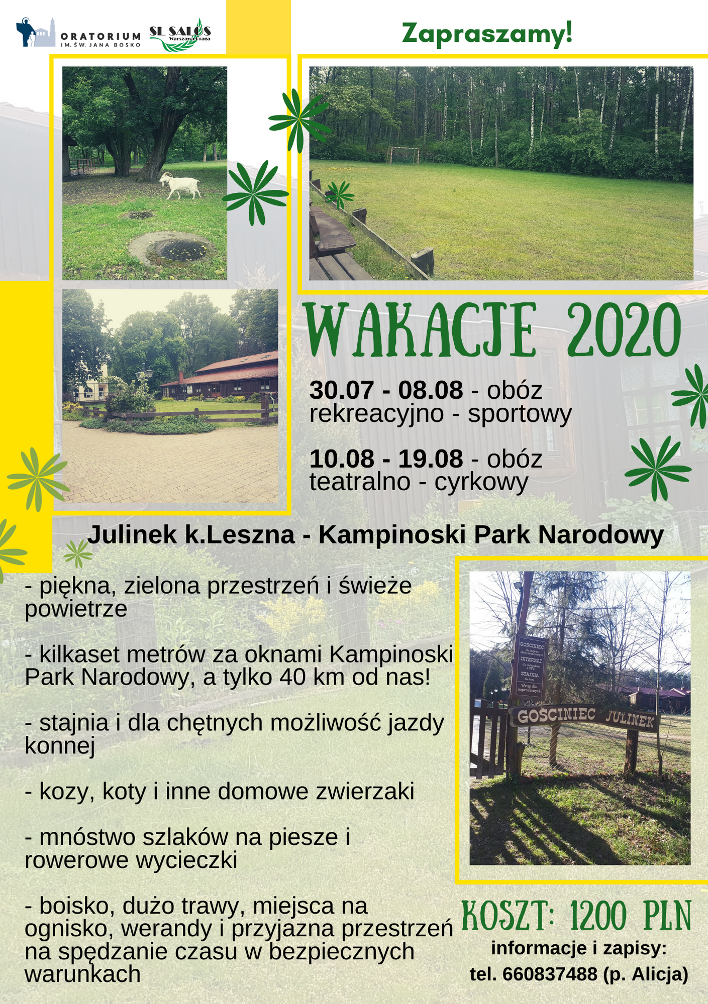 plakat WAKACJE 2020